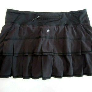 Lululemon Run: Pace Setter Skirt Skort Black 12